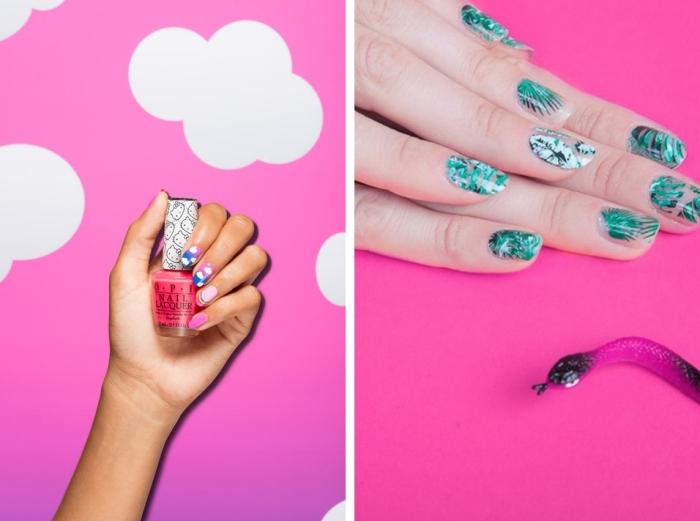 couleur ongle moderne, tendance nail art pour ongles mi-longs à décoration amusante tropicale ou unicorn
